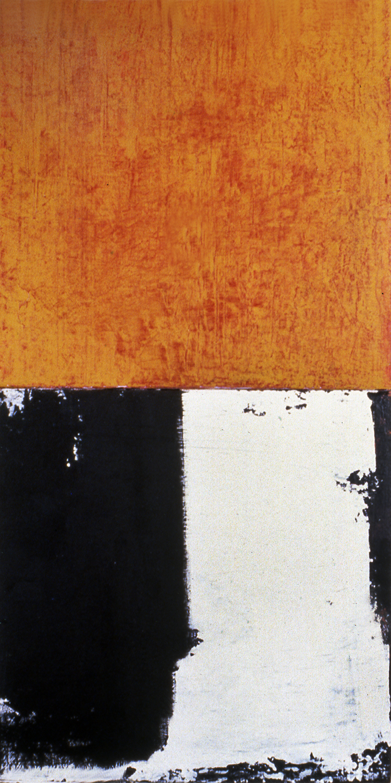 Binary Tilt, 1991, Acrylic on canvas over panels, 24 x 12 inches.