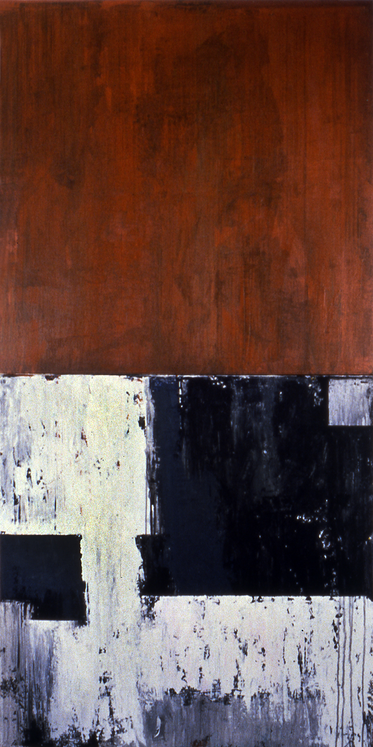 Smoke & Mirrors, 1991, Acrylic on canvas over panels, 72 x 36 inches.