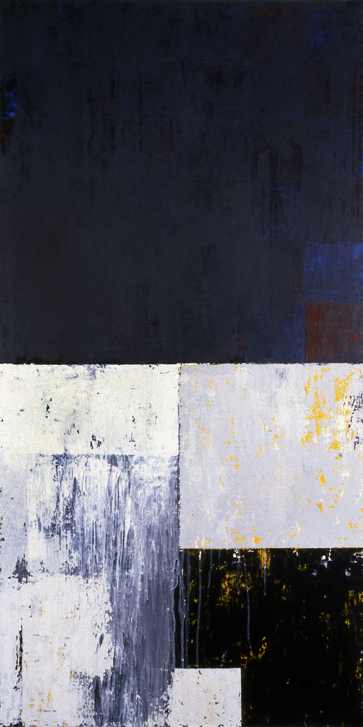 Squared Away, 1991, Acrylic on canvas over panels, 72 x 36 inches.