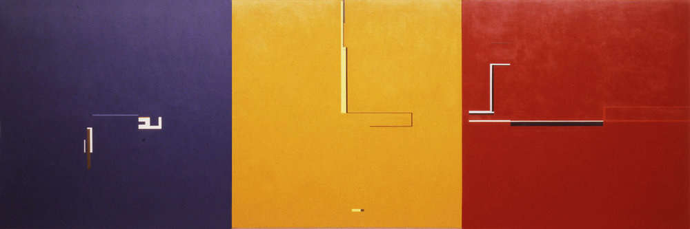 Who Is, Who is Afraid, Who is Afraid Of, 1984, Acrylic on canvas, 60 x 180 inches.