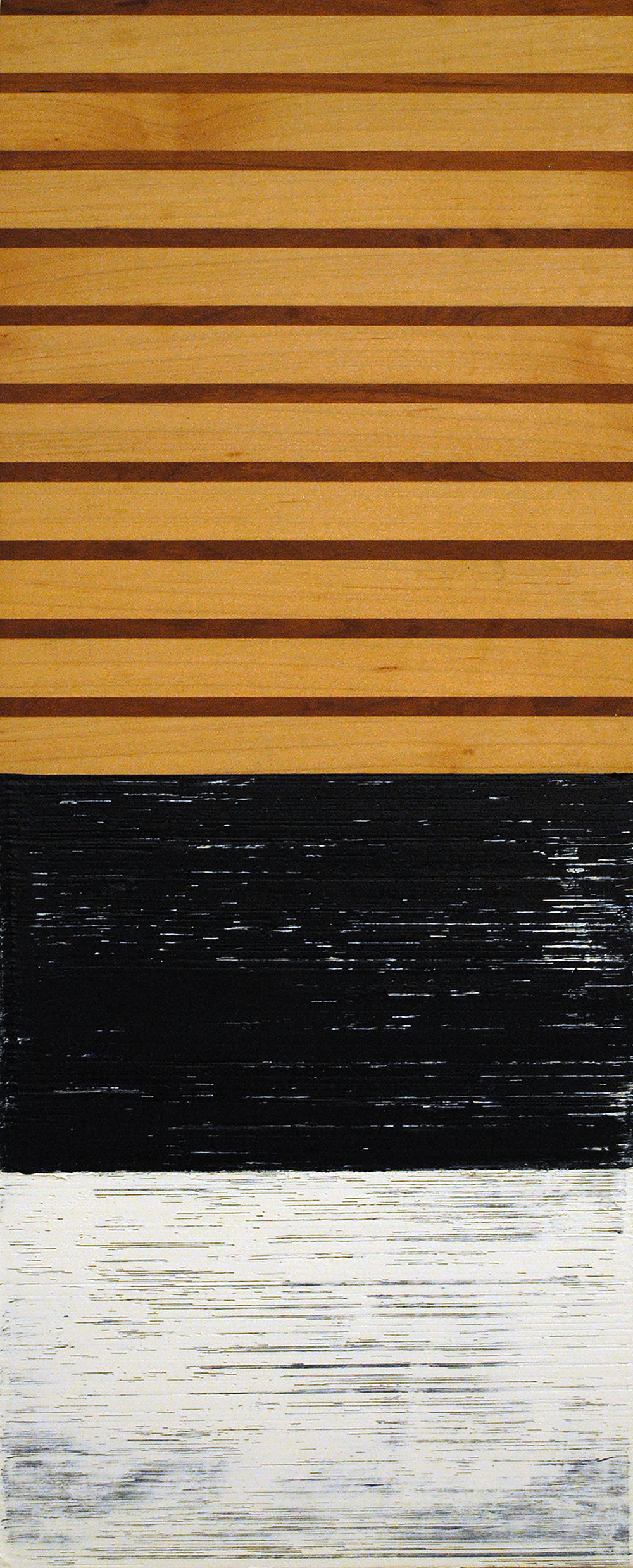 ISIS 33: Over, Under, Sideways, Down, 2015, Oil on panel, laminated cherry and maple wood, 19.75 x 8 x 2 inches.