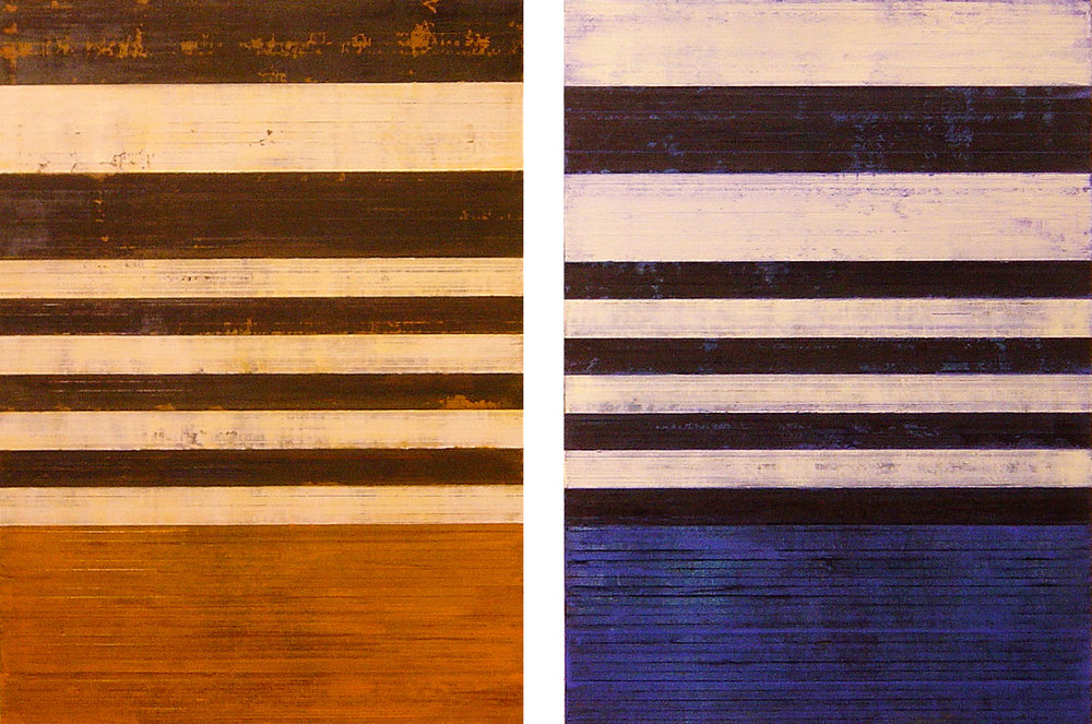 ISIS 12: Dawn & Dusk, 2009, Oil, acrylic on canvas over panels, 39.5 x 58 inches.