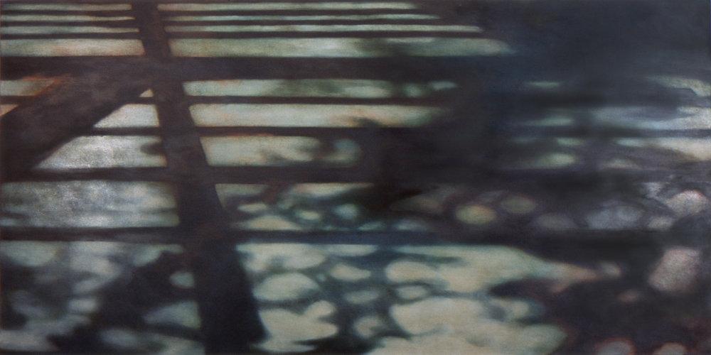 Burn ,  2005, Oil,acrylic on canvas, 60 x 120 inches.