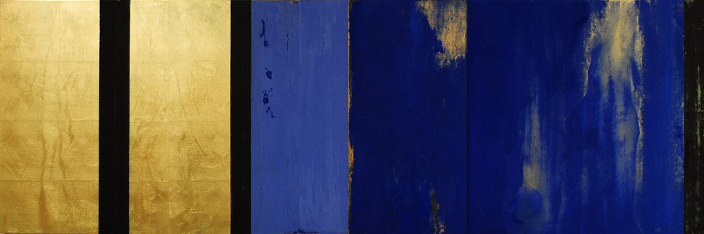 """Michael Morrill, Trappist , 2017, Oil and acrylic, gold leaf, wood panels, 24"""" x 60"""""""