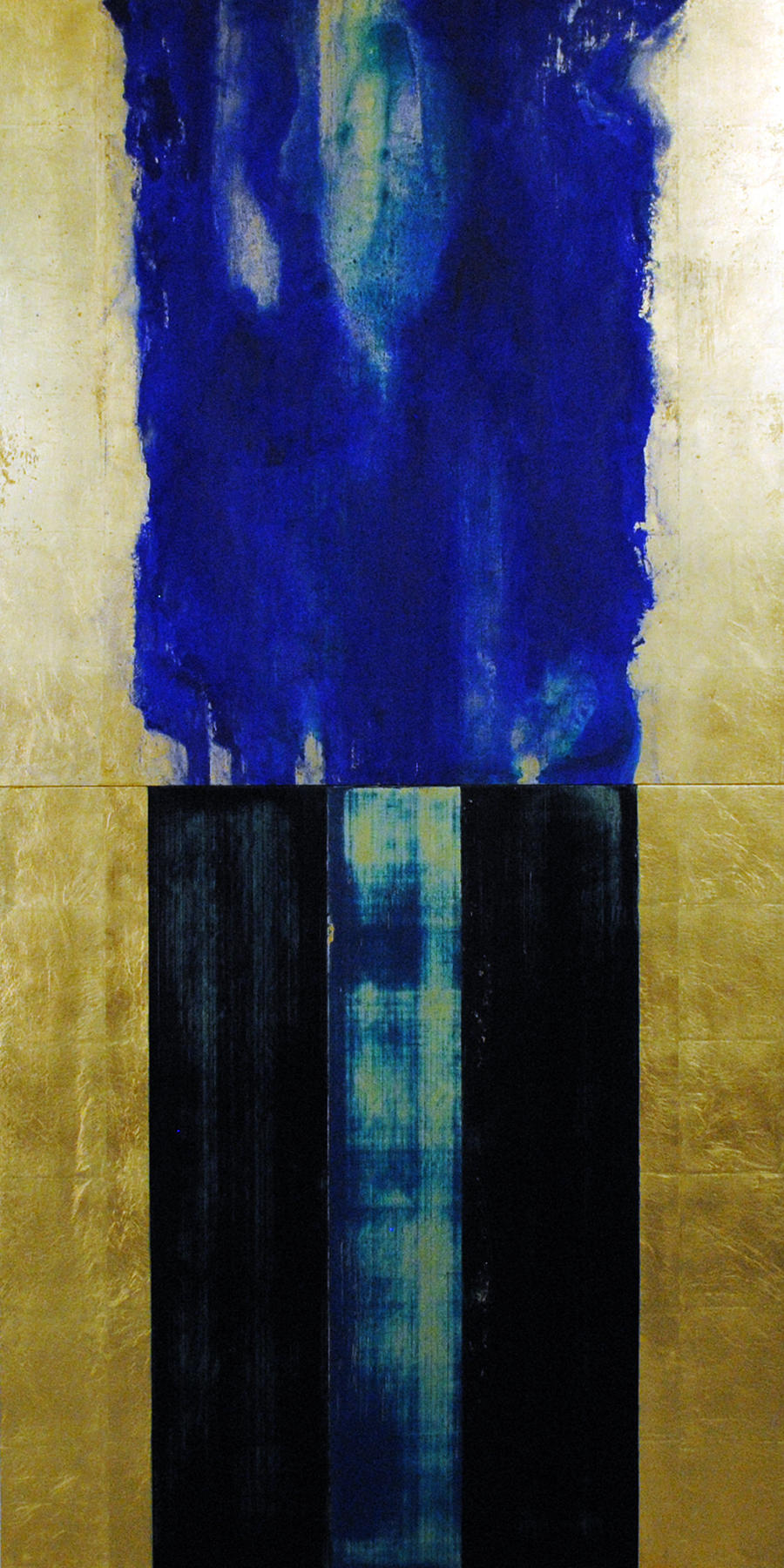 """Michael Morrill, Tigris-Euphrates , 2017, Oil and acrylic, gold leaf, wood panels, 72"""" x 36"""""""