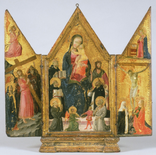 """Master of the Johnson Tabernacle, Virgin and Child, with Saints Dominic, John the Baptist, Thomas Aquinas, Peter Martyr, Francis, and Jerome, and an Angel and a Child, c. 1461, Tempera on panel, 19 11/16"""" x 11 1/8"""""""