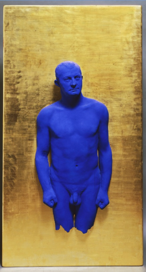 """Yves Klein, Portrait Relief I: Arman , 1962, painted bronze on gilded panel, 69"""" x 37"""""""