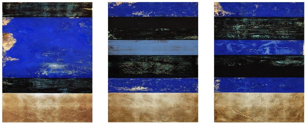 "Michael Morrill, Déjà Vu Blue, 2016, Oil and acrylic, gold leaf, wood panels, 40"" x 100"""