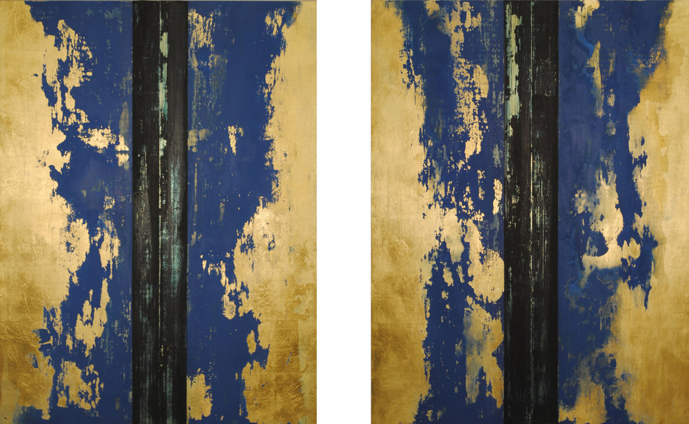 Temple II, 2016, Oil, acrylic paint, gold leaf, on wood panels, 48 x 78 inches.