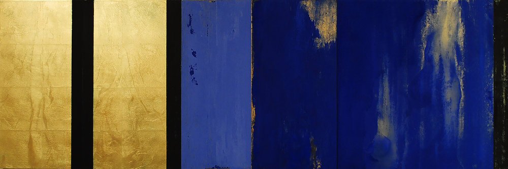Trappist I, 2017, Oil, acrylic, gold leaf on wood panels, 24 x 60 inches.