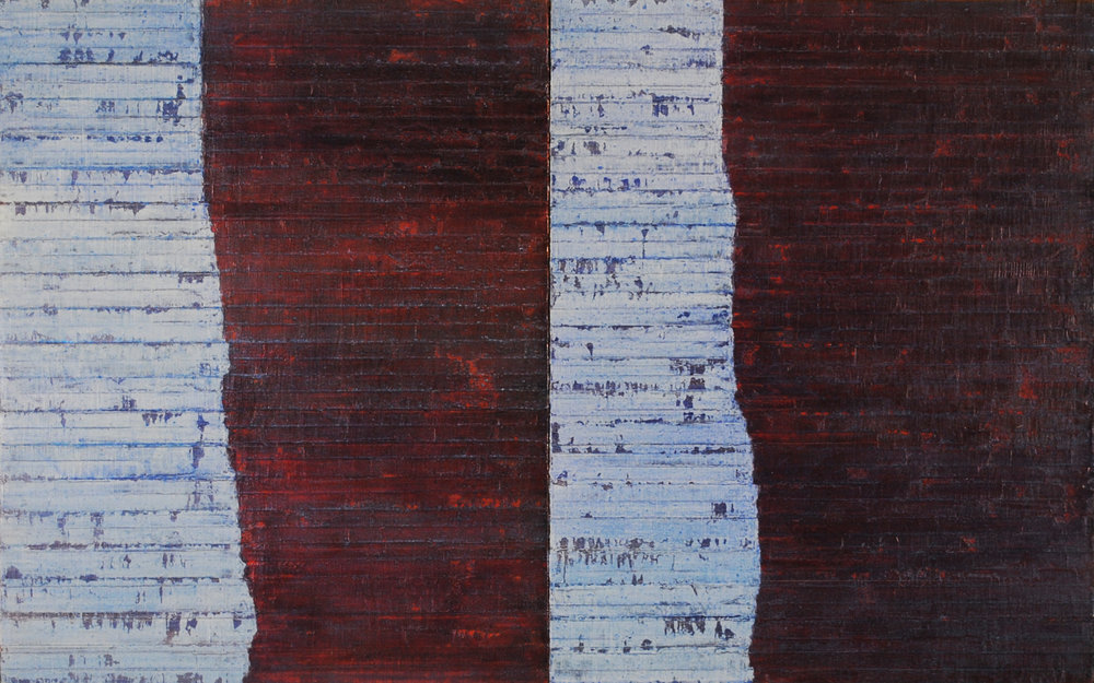 Linea Terminale: 11.10, 2012, Oil on linen over panels, 20 x 36 inches.