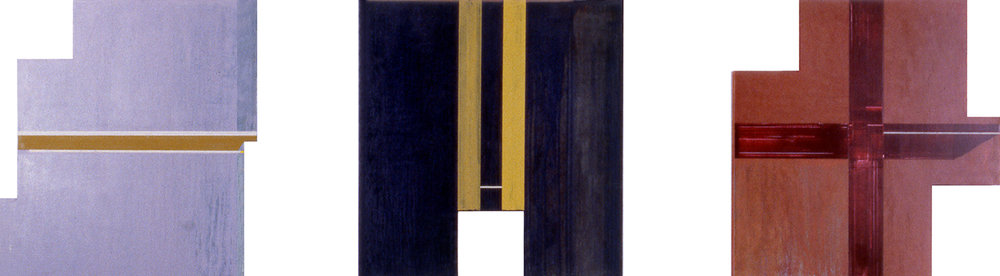 Trilogy of Squares, 1989, Acrylic on wood, 24 x 96 inches.