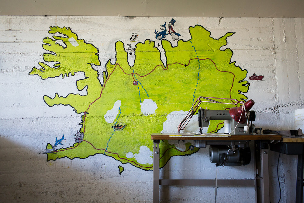 A map of Iceland is painted on a wall at a whitewater rafting business in eastern Iceland.