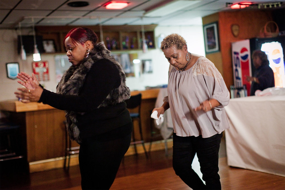 LaVenia Bailey and Irene Hall feel the music at Seafarers Clubhouse on a Friday night in December, 2012.
