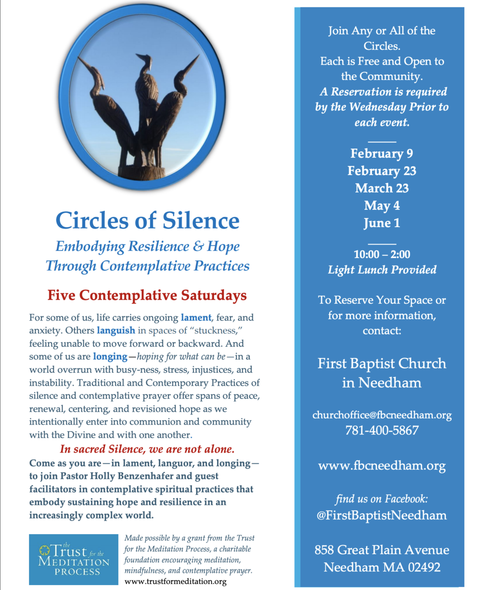 The next Circle of Silence will be held July 13, 2019, and will be facilitated by Rev. Charlene Zuill, the Spiritual Life Coordinator at Boston University School of Theology. More details soon to follow!