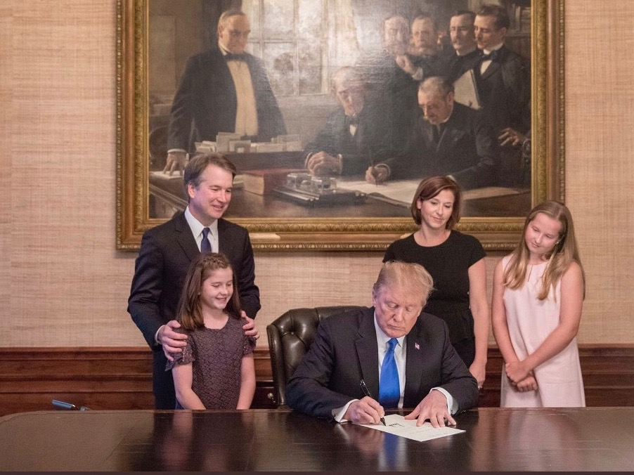 Judge Brett Kavanaugh and his family watch President Trump sign his formal nomination to the U.S. Supreme Court. (Twitter)