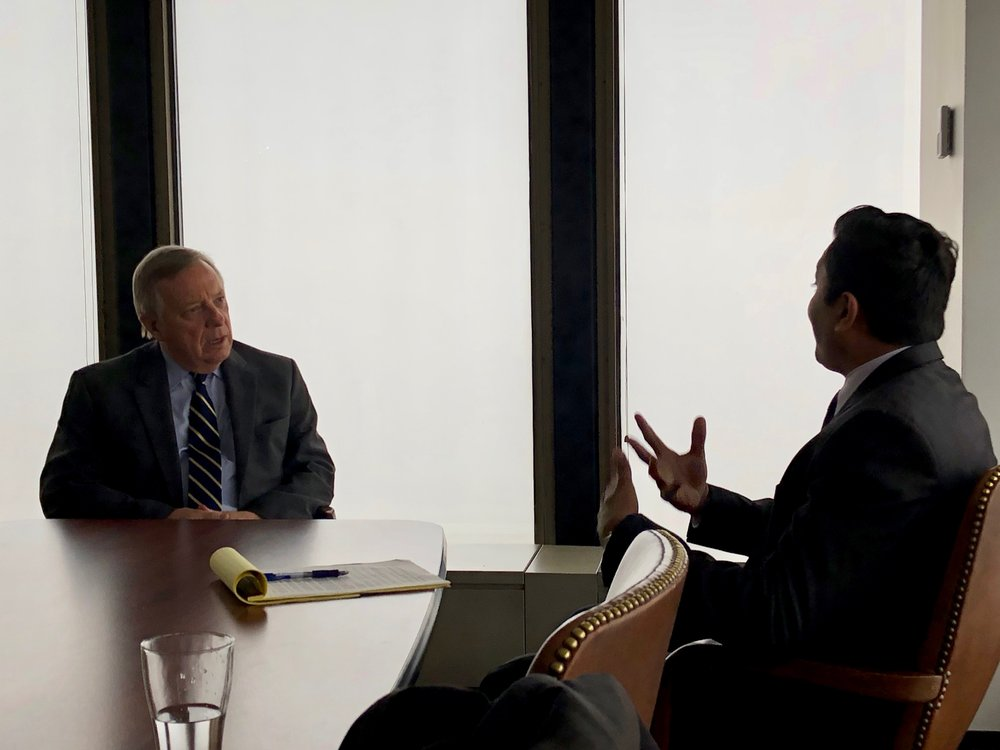 U.S. Sen. Dick Durbin and Alderman Ameya Pawar talk at Durbin's office in downtown Chicago. (One Illinois/Ted Cox)