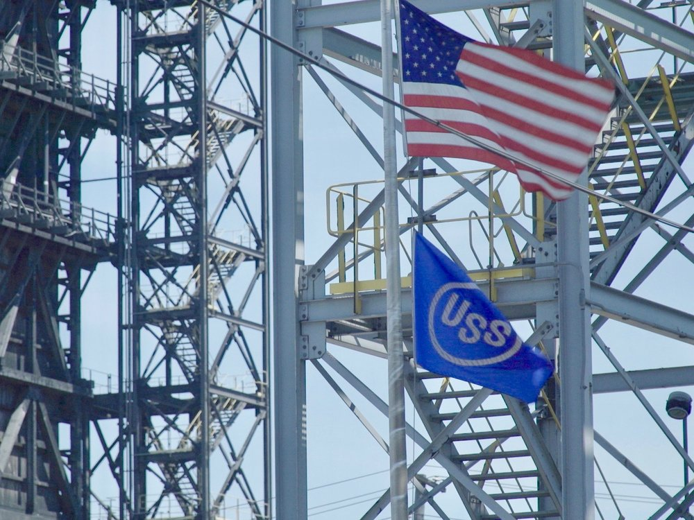The U.S. Steel flag flies below the U.S. flag outside the Granite City Works. (One Illinois/Ted Cox)