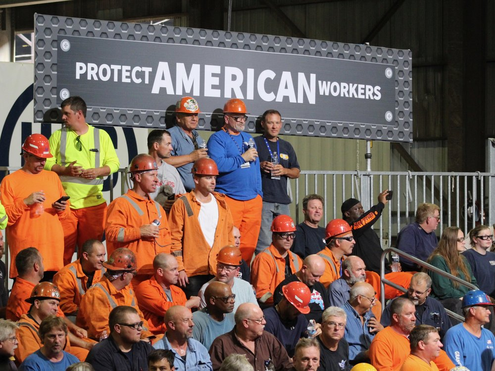 Steelworkers await President Trump's speech Thursday at the U.S. Steel Granite City Works. (One Illinois/Ted Cox)