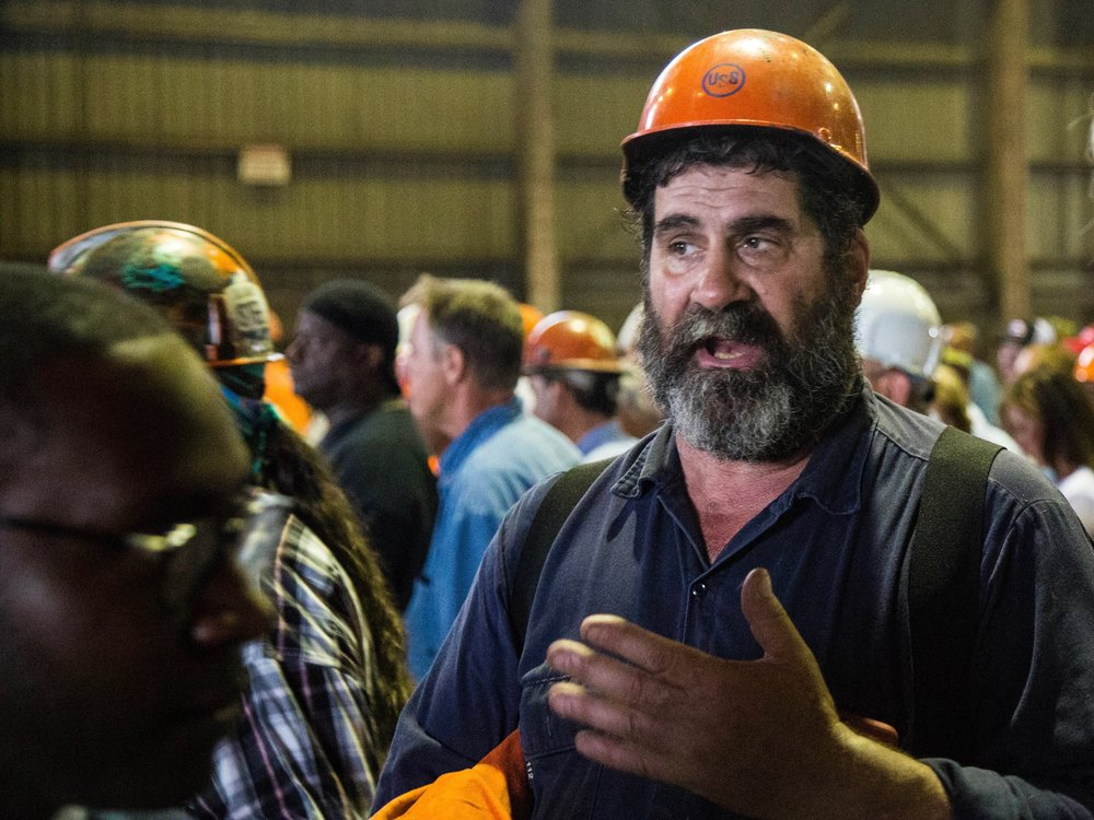 Steelworker Tony Caminiti said he was concerned about the effects of Trump's trade policies being undone. (One Illinois/Zachary Sigelko)