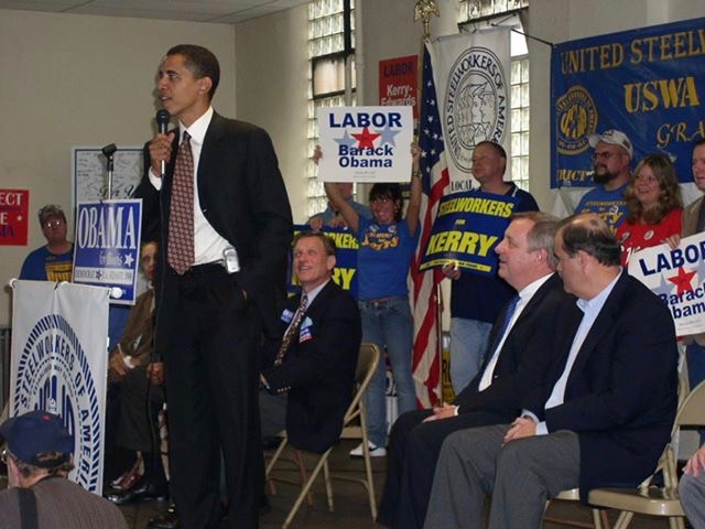 Barack Obama stumps in Granite City during his 2004 U.S. Senate campaign, with U.S. Sen. Dick Durbin and state Rep. Jerry Costello seated at right. (Norma Gaines)
