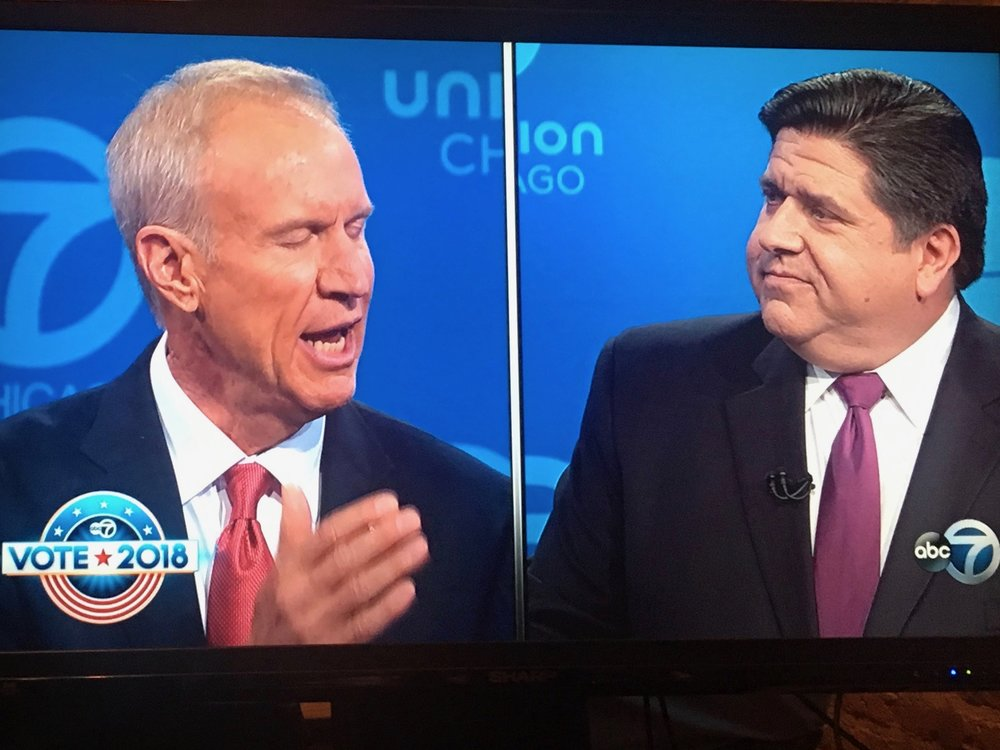 Gov. Bruce Rauner and J.B. Pritzker went head to head in the second of three scheduled debates for television. (WLS-TV)