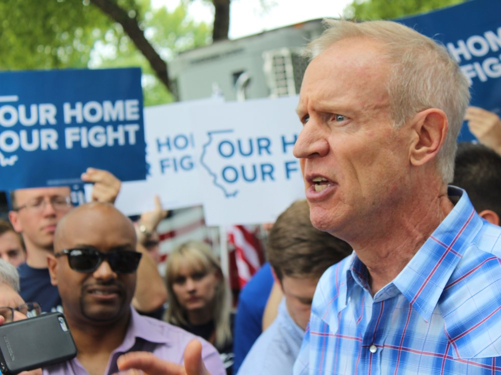 """Gov. Rauner speaks at a Republican rally on Governor's Day at the State Fair, where he said, """"We are not a sanctuary state and we'll never be one."""" (One Illinois/Ted Cox)"""