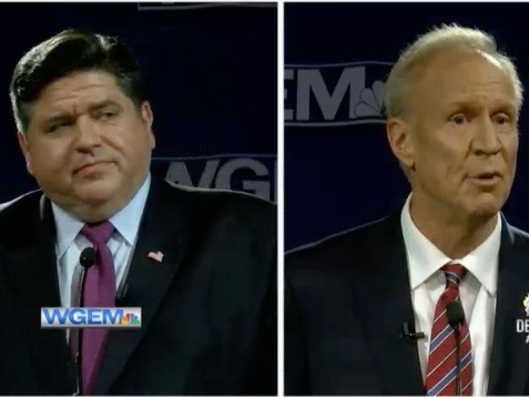 J.B. Pritzker looks askance at Gov. Bruce Rauner in their third and final televised debate in Quincy. (WGEM-TV)