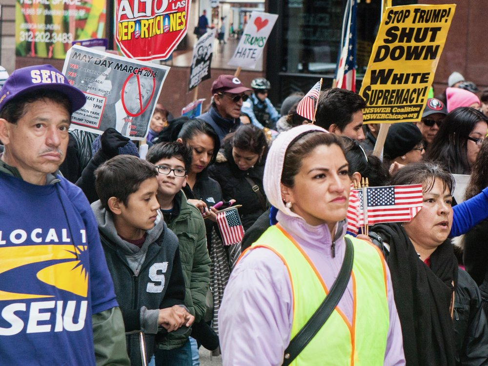 Protesters march in Chicago on May Day 2016. (Shutterstock/Marie Kanger Born)