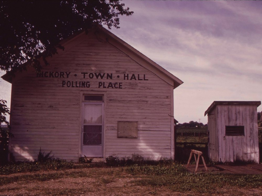A former Hickory Township polling place in Sheldons Grove. (National Archives and Records Administration/Arthur Greenberg)