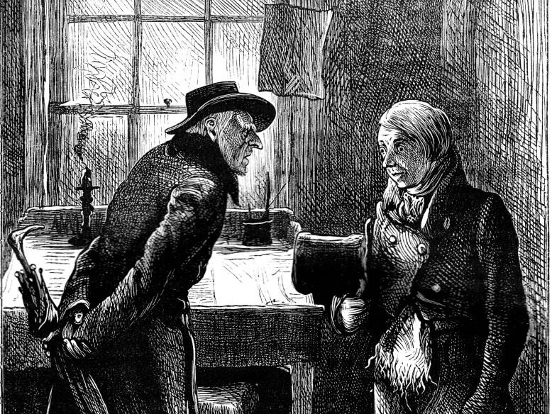 "Ebenezer Scrooge confronts his employee, Bob Cratchit, in an image in the public domain from a 19th-century edition of Charles Dickens's ""Christmas Carol."""