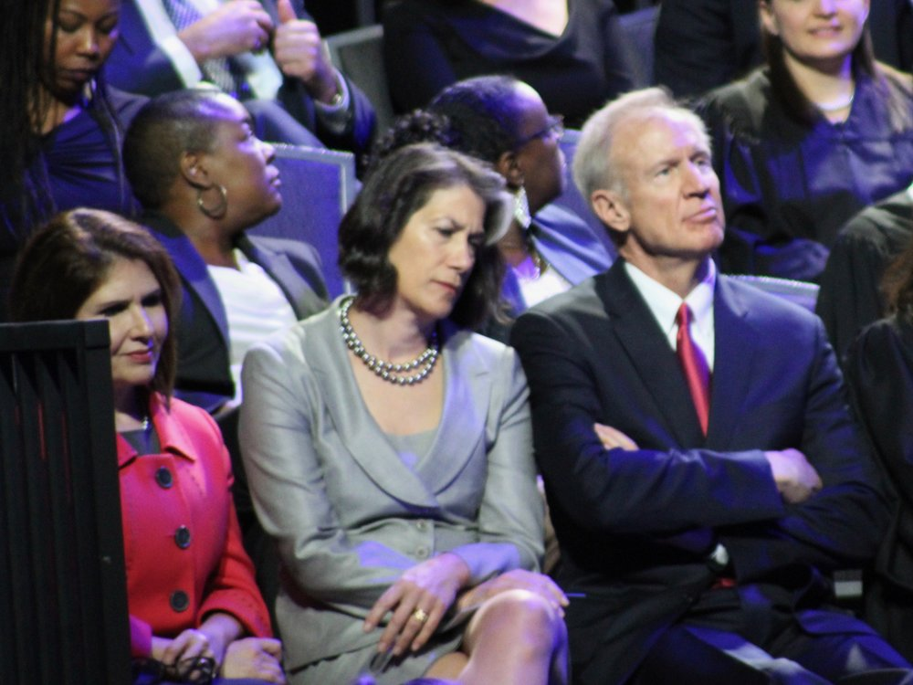 Outgoing Lt. Gov. Evelyn Sanguinetti, Diana Rauner, and Gov. Bruce Rauner attended Monday's inauguration ceremony. (One Illinois/Ted Cox)