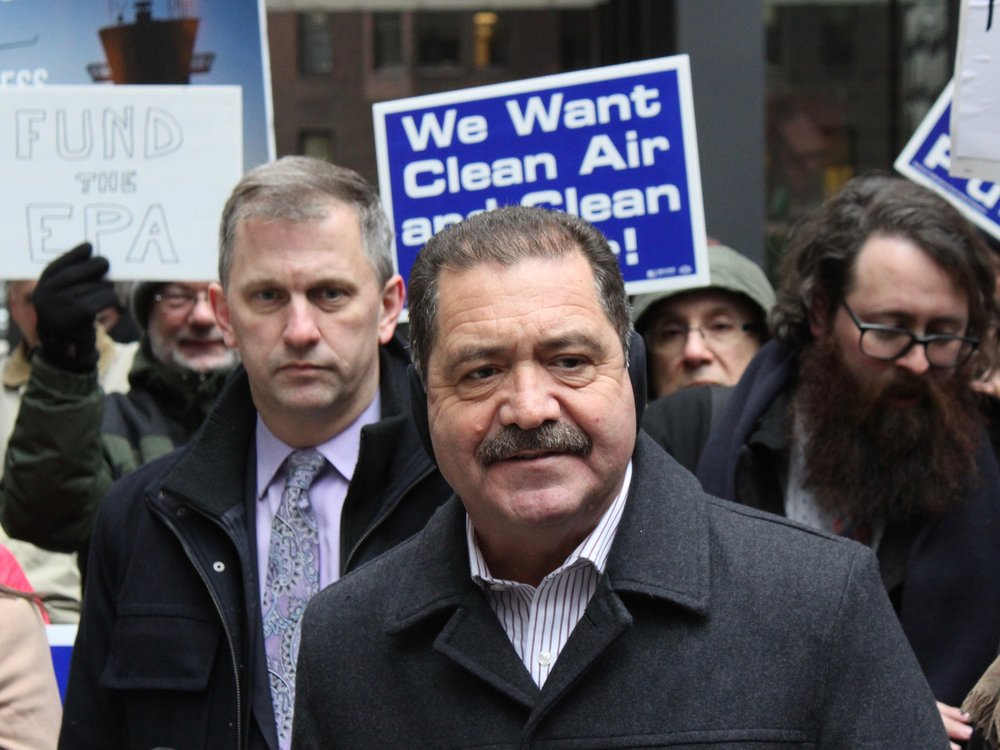 "Backed by House colleague Sean Casten, U.S. Rep. Jesus ""Chuy"" Garcia speaks out against the partial government shutdown at a rally in Chicago on Friday. (One Illinois/Ted Cox)"