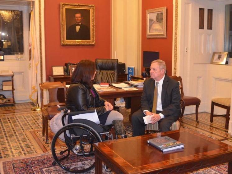 U.S. Sens. Tammy Duckworth and Dick Durbin meet at his office in Washington, D.C. (Sen. Dick Durbin)