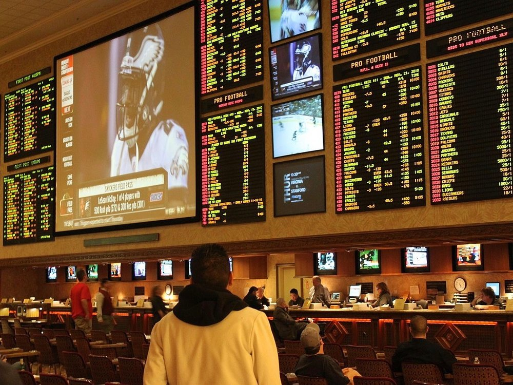 A customer sizes up a Las Vegas sports book in 2010. (Wikimedia Commons/Baishampayan Ghose)