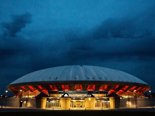 New environmental tweaks to Assembly Hall at the University of Illinois in Champaign helped the state lay claim to having the most newly certified green buildings in the nation last year. (Facebook/State Farm Center)
