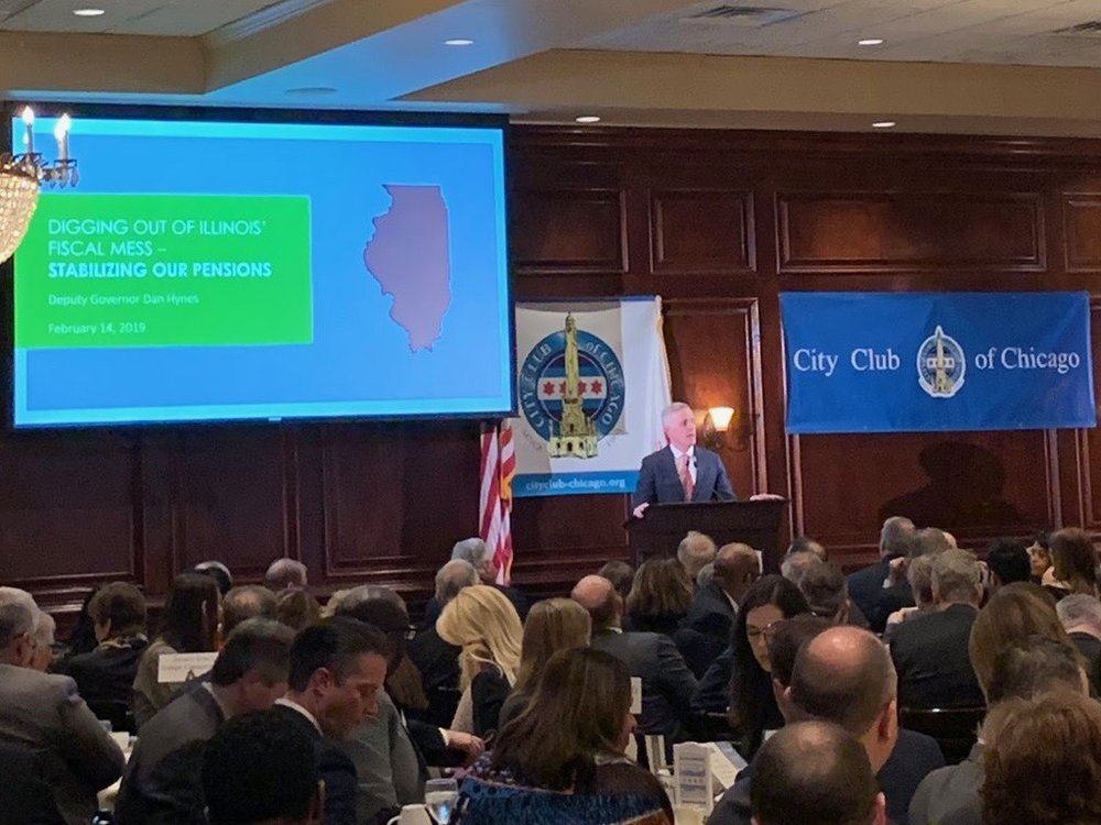 Deputy Gov. Dan Hynes addresses the state's pension problems in a speech at the City Club of Chicago on Thursday. (Twitter/City Club of Chicago)