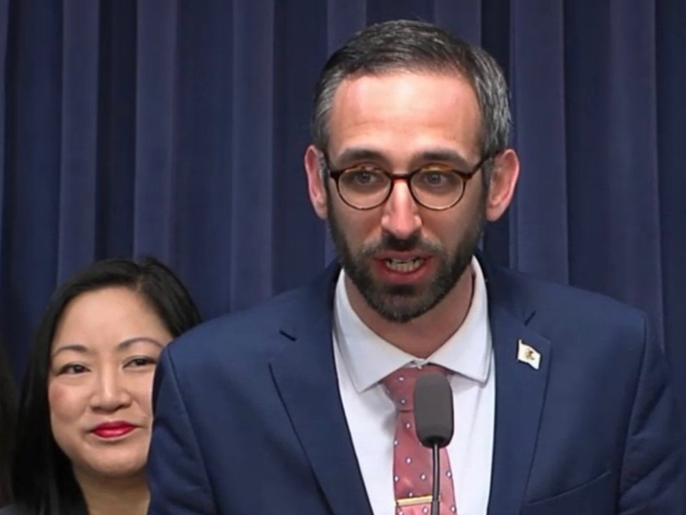 State Reps. Theresa Mah and Will Guzzardi at Thursday's announcement of the Progressive Caucus. (Twitter/BlueRoomStream)