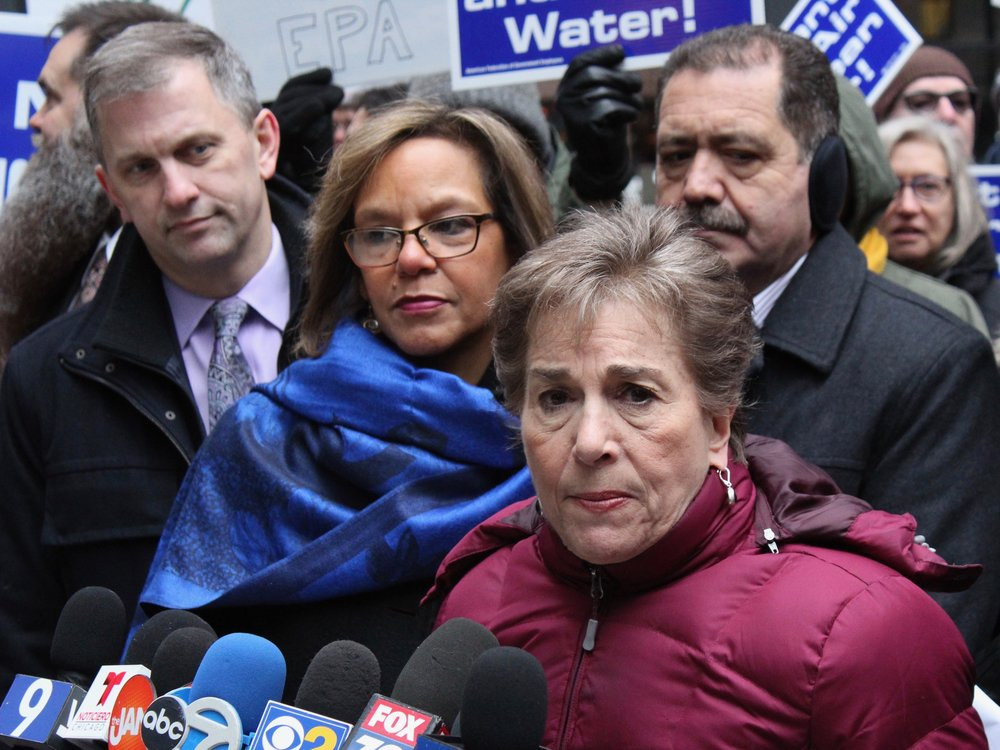 """U.S. Reps. Sean Casten, Robin Kelly, Jan Schakowsky, and Jesus """"Chuy"""" Garcia attend a Chicago rally against the federal government shutdown in January: all voted in favor of background checks on gun sales. (One Illinois/Ted Cox)"""