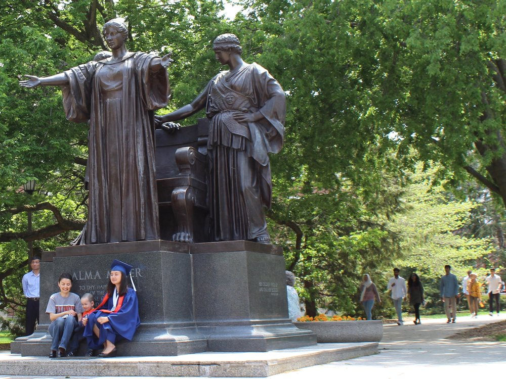 The University of Illinois Alma Mater extended her arms to fewer state students during the two-year budget impasse under Gov. Rauner, but the tide might have turned back last fall. (One Illinois/Ted Cox)