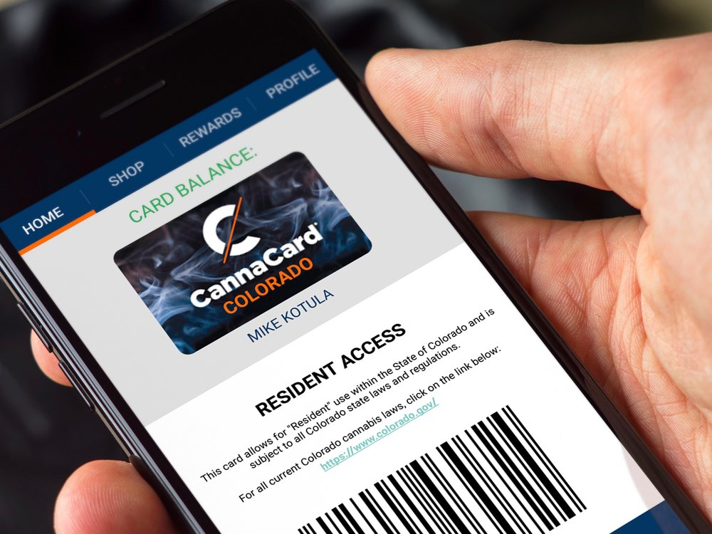 CannaCard can be used as a smartphone app or as a reloadable hard card. (CannaTrac)