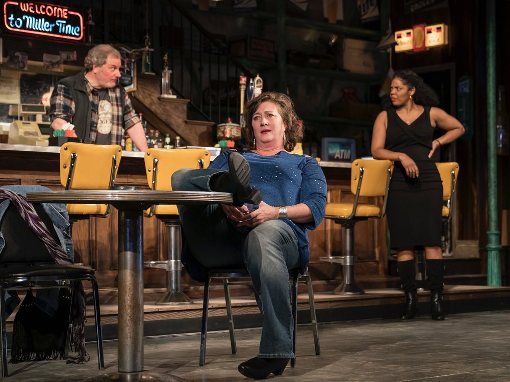 """Keith Kupferer, Kirsten Fitzgerald, and Tyla Abercrumbie are factory workers at various stages of their lives in """"Sweat"""" at Chicago's Goodman Theater. (Goodman Theater/Liz Lauren)"""