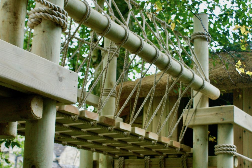 Treehouse Rope Bridge for play and adventure