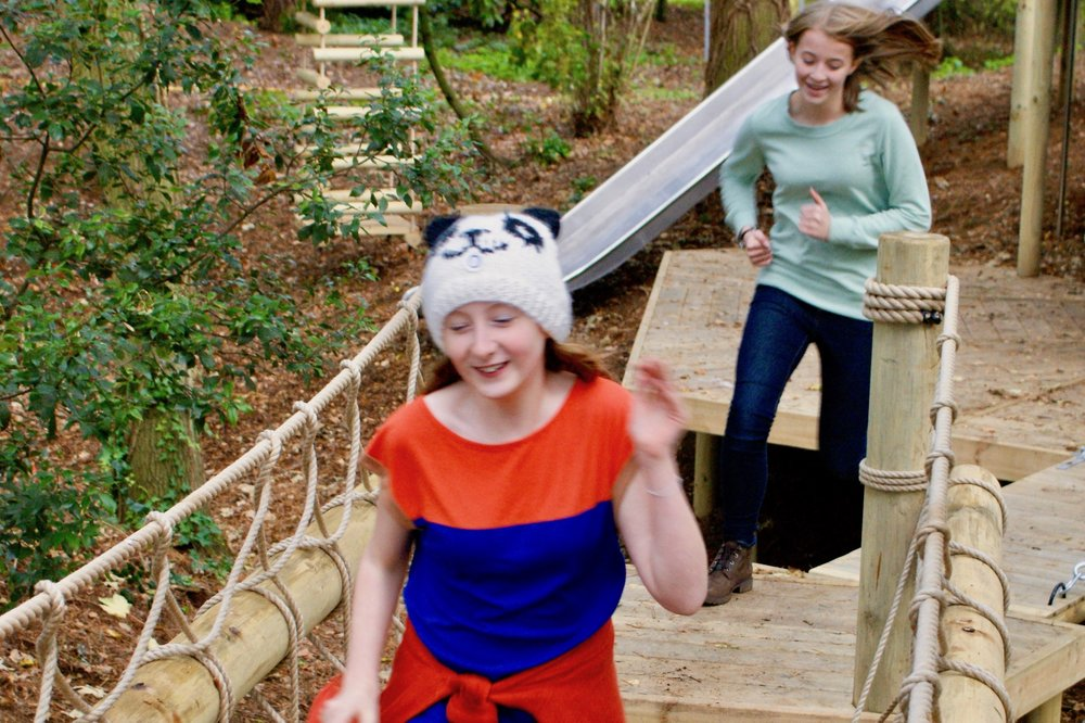 Kids running across a woodland Rope Bridge