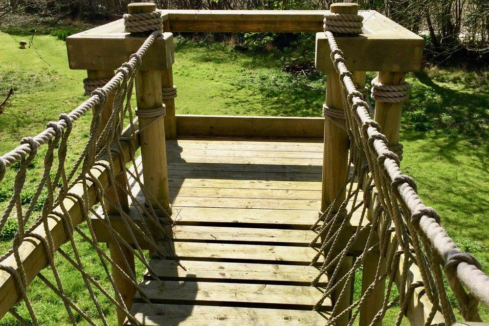 Rope Bridge leading to a platform