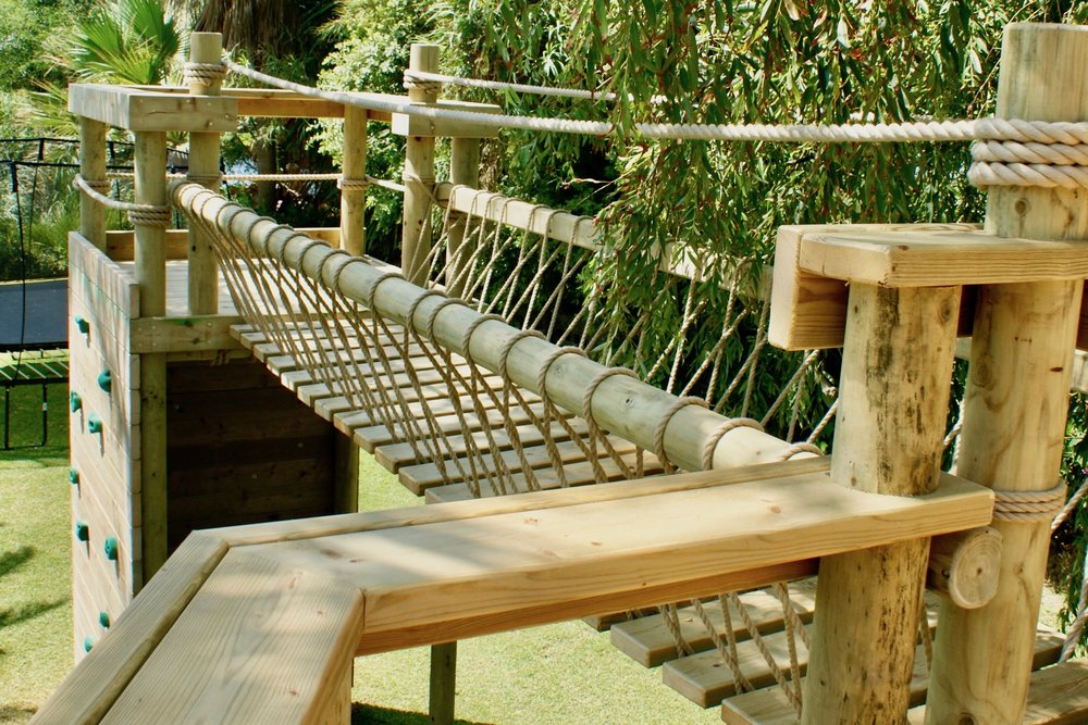 Balustrade timbers leading to Rope Bridge