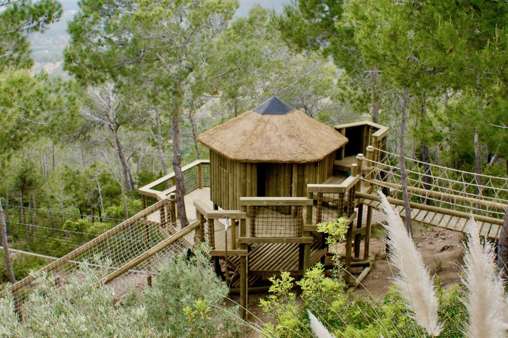 Treehouse and Rope Bridge on Ibiza hillside