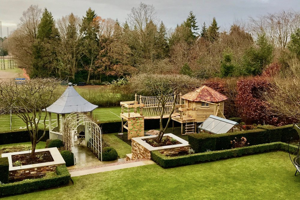 Formal garden treehouse Rope Bridge