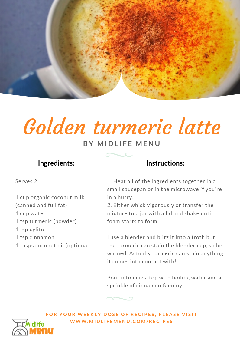 The trouble with bought turmeric lattes is they can contain large amounts of sugar, which as you know I try to reduce as much as possible. But turmeric is a bit 'earthy' so what's the solution? A homemade one which uses one of the better sweeteners that doesn't spike the blood sugar levels. This is a hug in a mug! midlifemenu.com/recipes/turmeric-latte