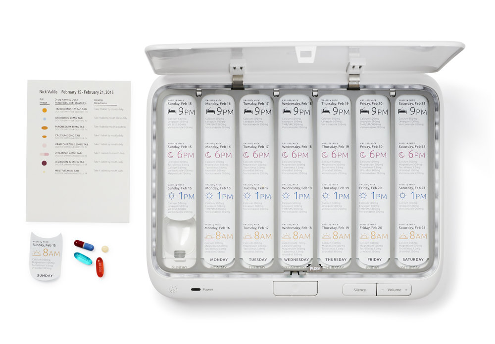3. The Smart Pillbox does the rest - The Smart Pillbox keeps your meds organized, and reminds you if you miss a dose with on-box lights and sounds, texts, phone, and email reminders.